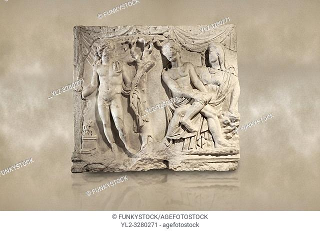 Roman relief sculpture of the Myth of Adonis. Roman 2nd century AD, Hierapolis Theatre. . Hierapolis Archaeology Museum, Turkey