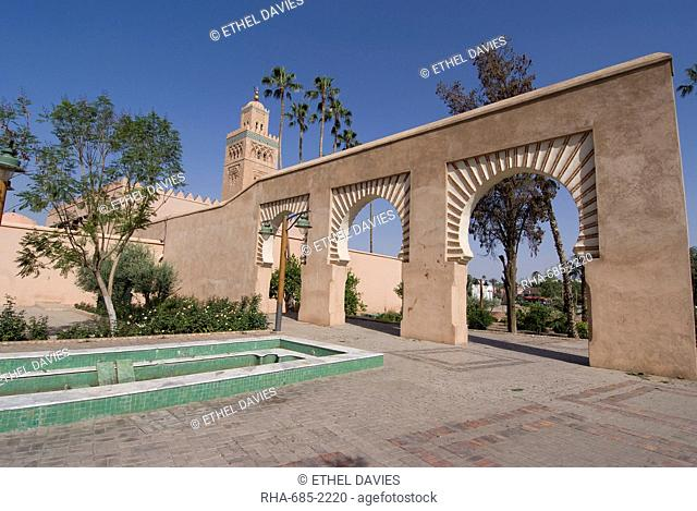 The Koutoubia Mosque Booksellers' Mosque, the landmark of Marrakech, Morocco, North Africa, Africa
