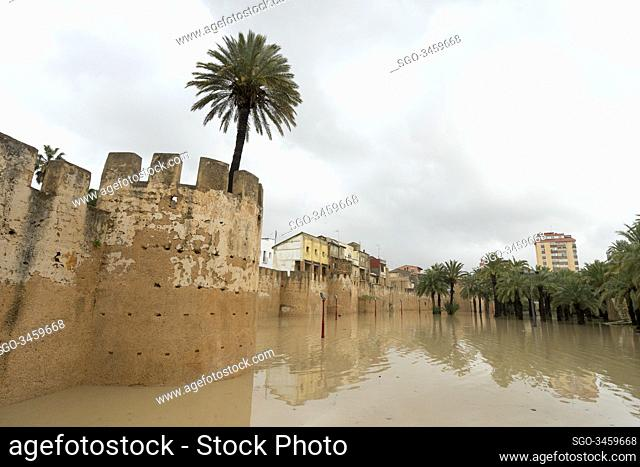 270/5000.Alberic, Valencia, Spain, January 21, 2020. Former channel of the Jucar de Alzira river, converted into a park now
