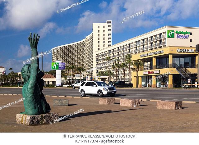 The Holiday Inn and San Luis Resort on the seawall in Galveston, Texas, USA