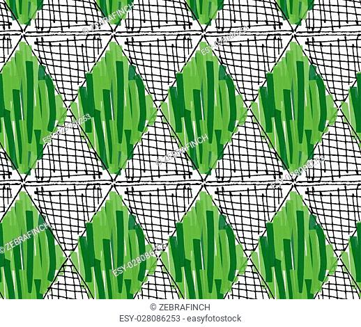 Artistic color brushed green and hatched diamonds.Hand drawn with ink and marker brush seamless background.Abstract color splush and scribble design