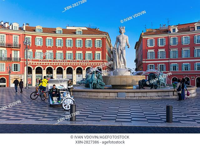 Fountain of the sun, Massena square, Nice, Alpes Maritimes departement, France