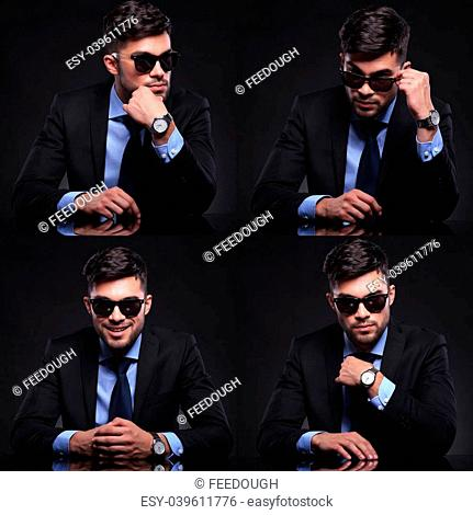 collage of young business man in various postures. pensive, content, questioning, looking over sunglasses, adjusting his tie. on black background