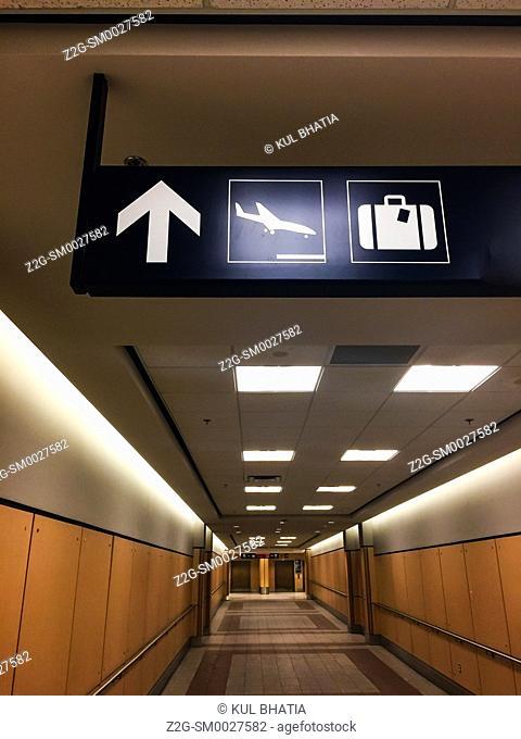 long corridor leading to the arrivals area, Halifax airport, Nova Scotia, Canada