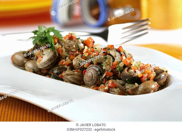Boiled snails with vinaigrette sauce