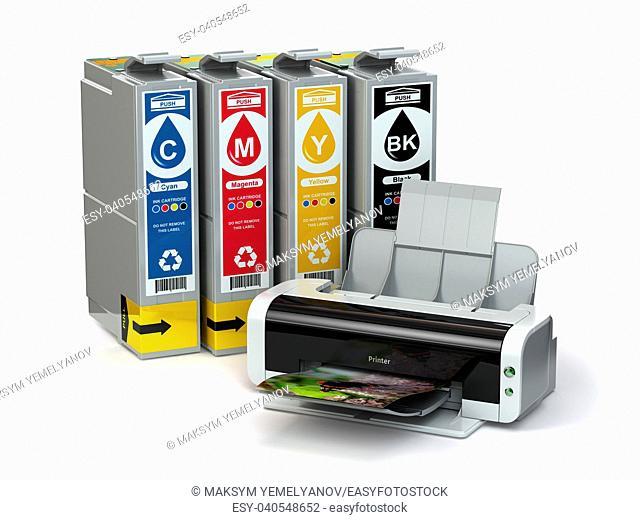Inkjet CMYK cartridges and printer isolated on white. 3d