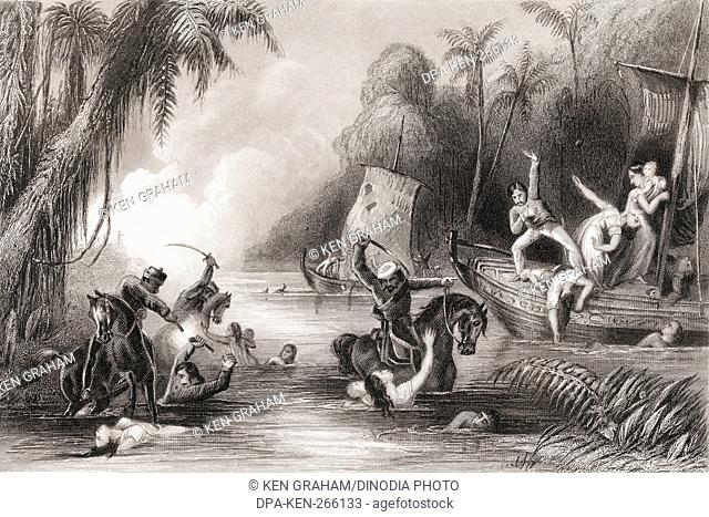 Massacre in the boats of Cawnpore, India, Asia, 1857