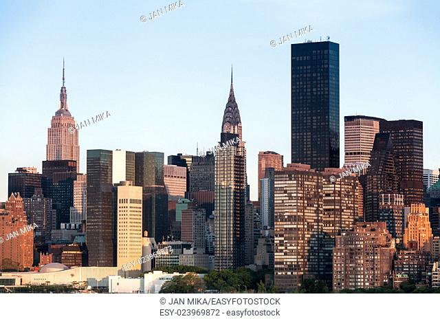 New York City Manhattan Midtown cityscape with cloudless clear sky during sunny spring day in NYC, USA
