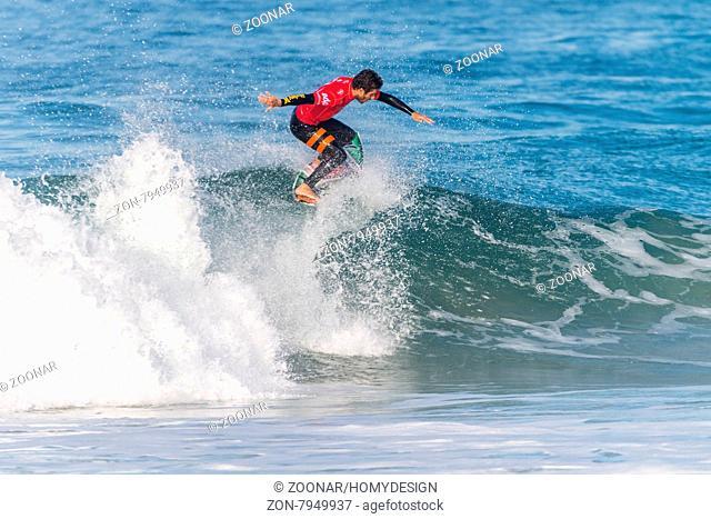 PENICHE, PORTUGAL - OCTOBER 23, 2015: Filipe Toledo (BRA) during the Moche Rip Curl Pro Portugal, Men's Samsung Galaxy Championship Tour #10