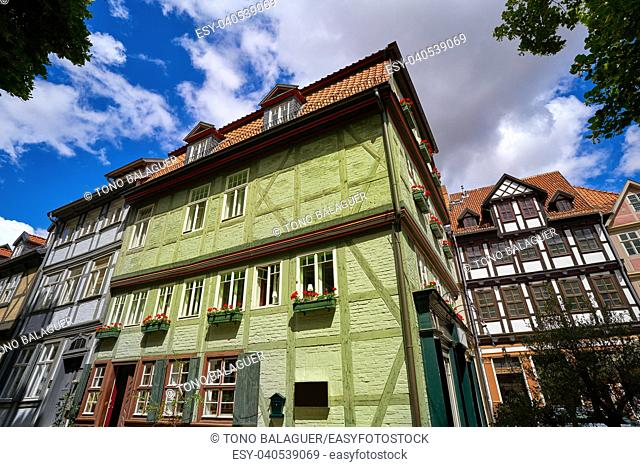 Quedlinburg city facades in Harz of Saxony Anhalt Germany