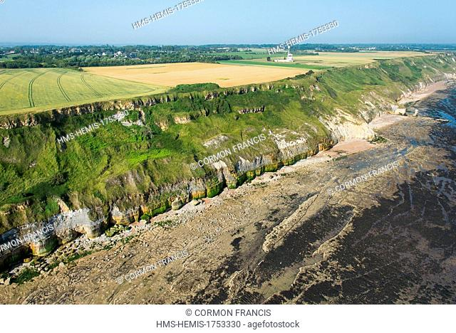 France, Calvados, Port en Bessin, foreshore at low tide (aerial view)