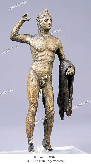 Bronze statue depicting Hercules. Etruscan civilization, II-I Century BC.  Berlin, Altes Museum, Antikensammlung (Archaeological Museum)