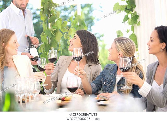 Women enjoying wine tasting session with red wine
