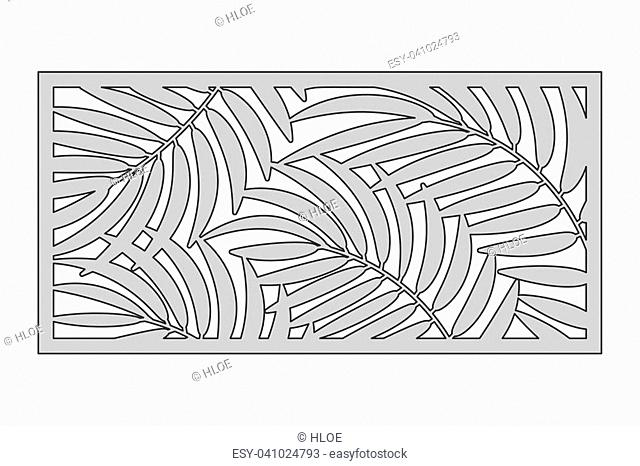 Template for cutting. Palm leaves pattern. Laser cut. Ratio 1:2. Vector illustration