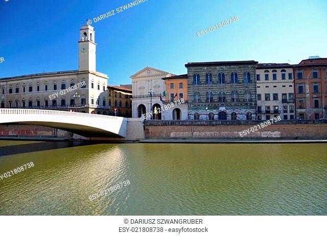 Mezzo Bridge over Arno river in Pisa, Italy