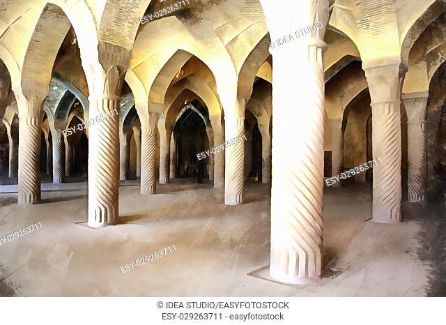 Colorful painting of Vaqil mosue interior with columns, Shiraz, Iran