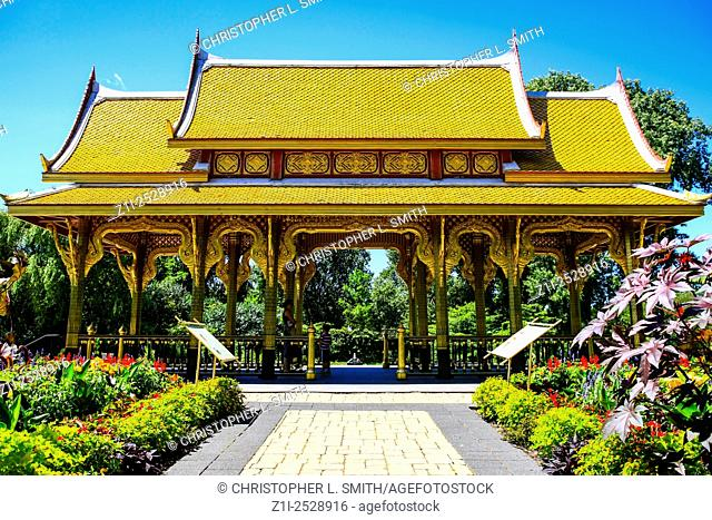 The golden Thai Pavillion at Olbrich Botanical Gardens in Madison Wisconsin