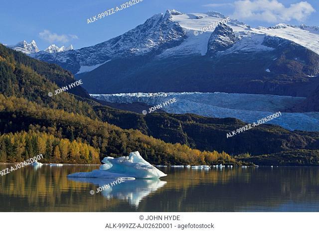 Icebergs float on the calm surface of Mendenhall Lake on a Fall morning, Mendenhall Glacier, Juneau, Southeast Alaska