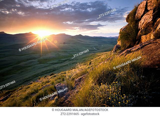 Landscape photo of a sunset atop the Drakensberg escarpment. Elliot, Eastern Cape, South Africa