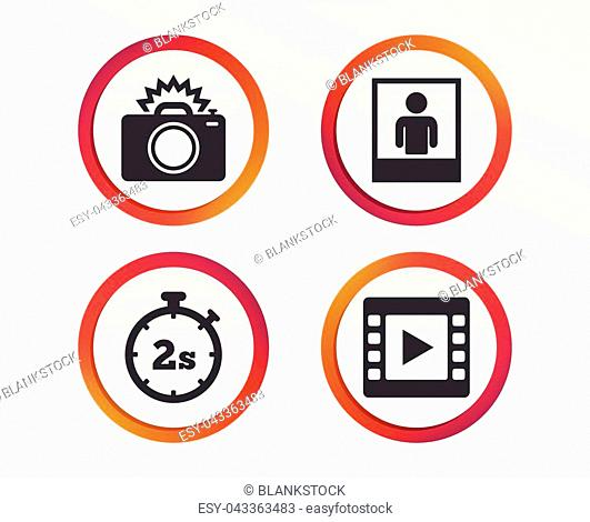 Photo camera icon. Flash light and video frame symbols. Stopwatch timer 2 seconds sign. Human portrait photo frame. Infographic design buttons