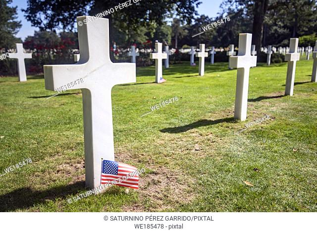 Headstones of the dead soldiers at the Normandy landing in the American cemetery of Colleville-sur-Mer, France