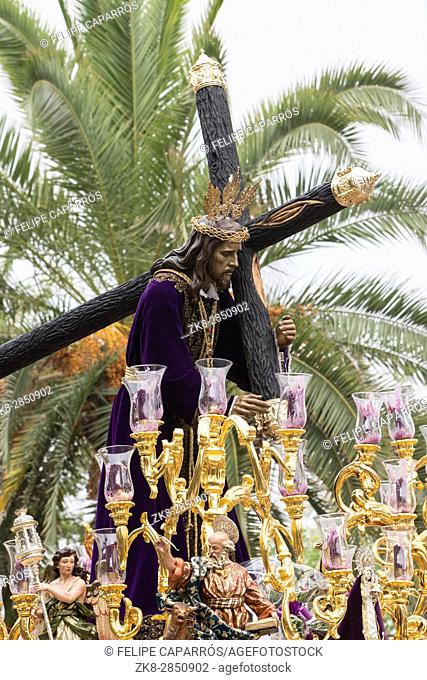 Jesus of Nazareth carrying wooden cross, Throne more popular in this city, represents jesus bearing the cross to Mount Calvary to be crucified, Linares