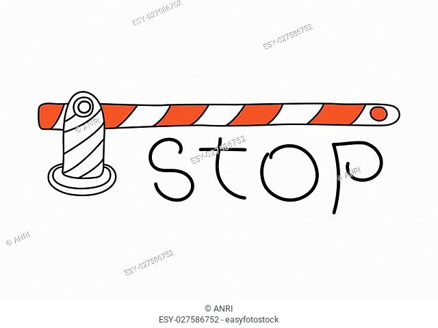 Road barrier gate and stop sign word isolated