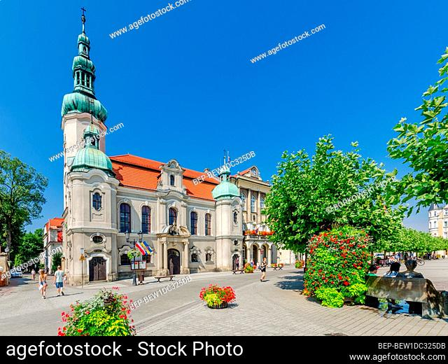 PSZCZYNA, SILESIAN PROVINCE, POLAND: ger.: Pless, Lutheran church, the city hall; Marketplace square