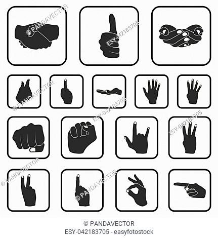 Hand gesture black icons in set collection for design. Palm and finger vector symbol stock illustration