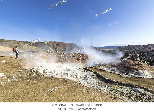 A fumarole under the Brennisteinsalda mountain, Laugahraun lava field (Landmannalaugar, Fjallabak Nature Reserve, Highlands, Southern Region, Iceland, Europe)
