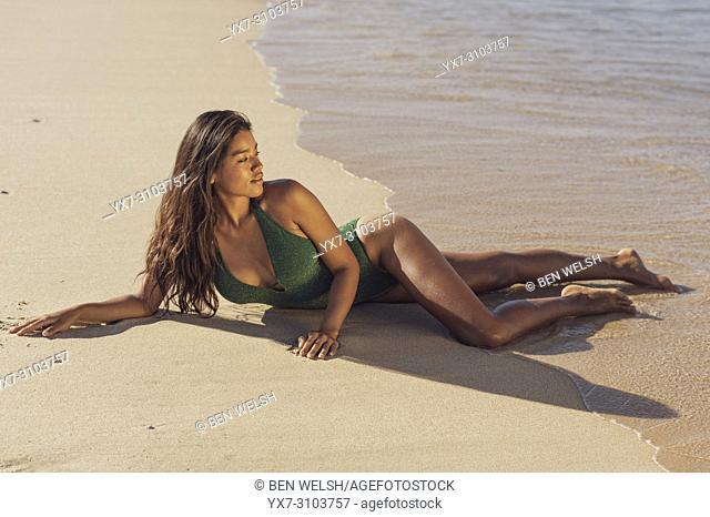 Exotic woman. Tarifa, Costa de la Luz, Cadiz, Andalusia, Spain