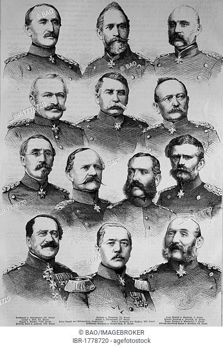 The Corp Commanders of the North German Federal Army: Constantin von Alvensleben, William of Tuempling, Edwald von Kirchbach, Julius von Bose