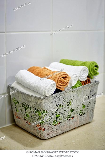 close-up basket of pure towels