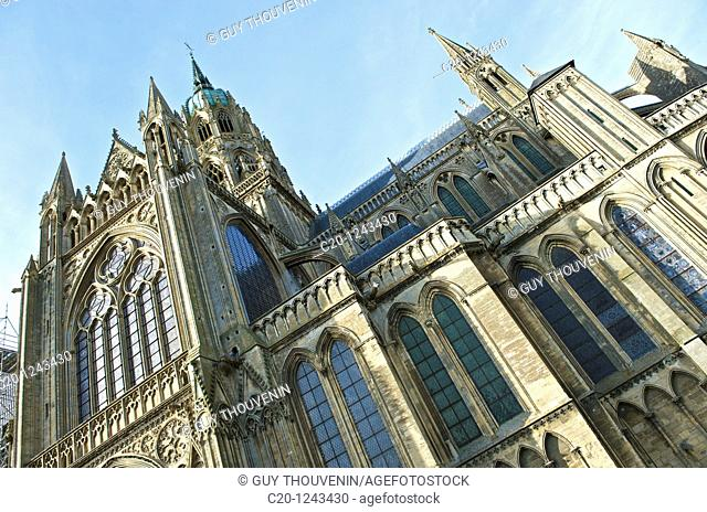 Detail of Western façade (12th-13th century), Notre Dame Cathedral, Bayeux, Calvados, Lower Nomandy, France