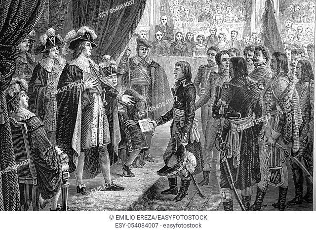 Bonaparte submitting the treaty to the directory of Campoformio. October 1797. Austrian monarchy and French republic. Antique illustration. 1890