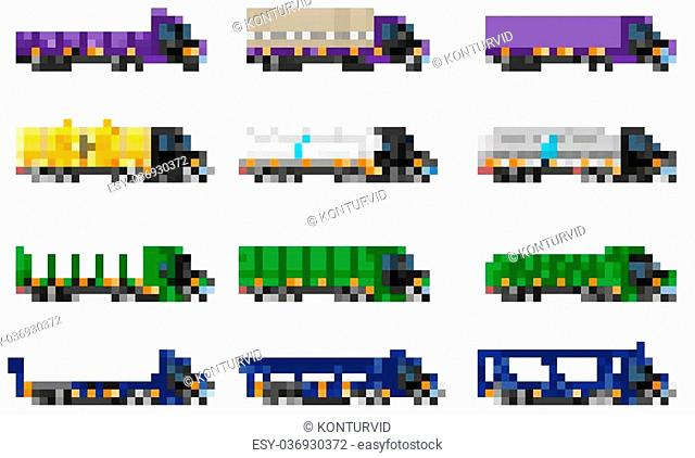 set icons trucks semi trailer vector illustration isolated on white background