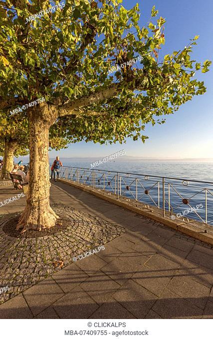 Promenade on Lake Constance. Meersburg, Baden-Württemberg, Germany