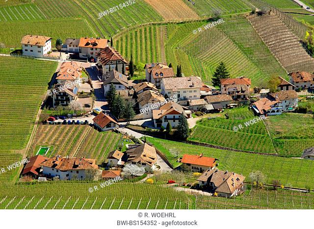 view from Boymont Castle to Missian district, Italy, South Tyrol, Eppan
