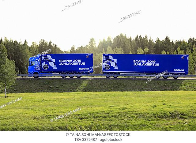 Turku, Finland. August 24, 2019. Next Generation Scania S650 truck pulls multi-axle woodchip trailer on highway ramp. Scania in Finland 70 years tour