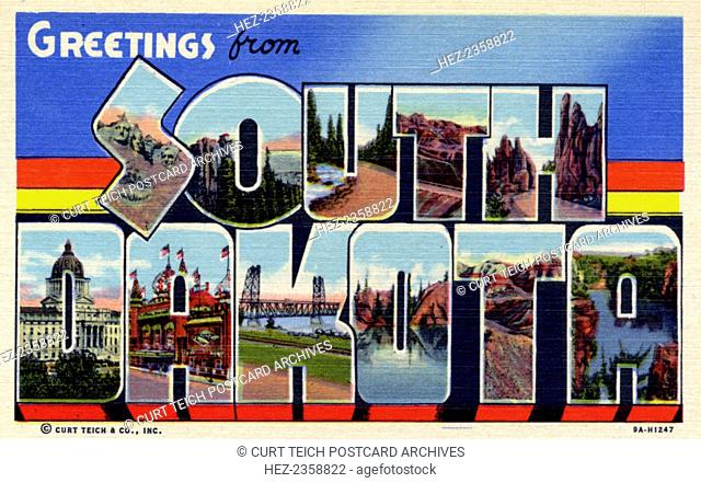 'Greetings from South Dakota', postcard, 1939. Large letter postcard of South Dakota showing views of the state in each letter
