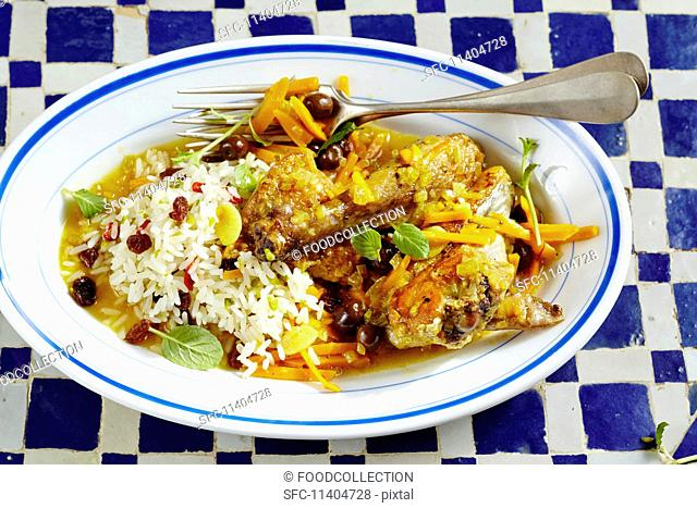 Guinea fowl with pumpkin and olives, Tunisia
