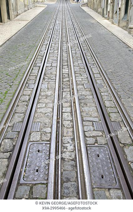 Funicular Tram Track, Rua da Bica de Duarte Belo Street; Lisbon; Portugal