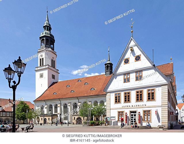 St. Mary's Church with town hall, Celle, Lower Saxony, Germany