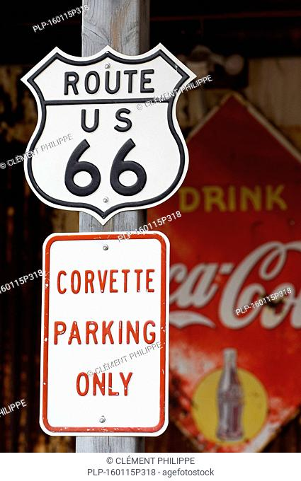 Rout 66 sign at petrol station of the General Store in ghost town Hackberry, Arizona, US