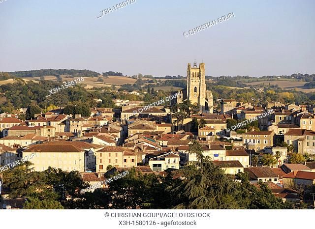 overview of Condom, Gers department, Midi-Pyrenees, southwest of France, Europe