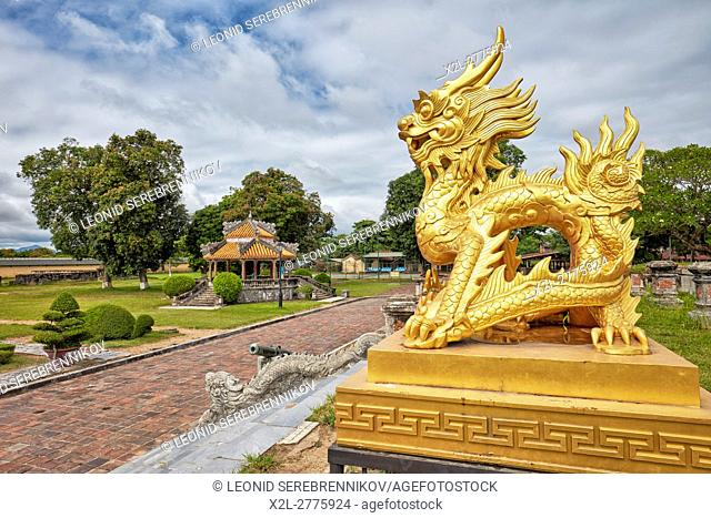 Dragon figure on site of the lost Kien Trung Pavilion (the place for daily activities of Emperors). Imperial City (The Citadel), Hue, Vietnam