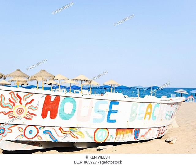 Decorated fishing boat on La Carihuela beach, Torremolinos, Costa del Sol, Malaga, Spain