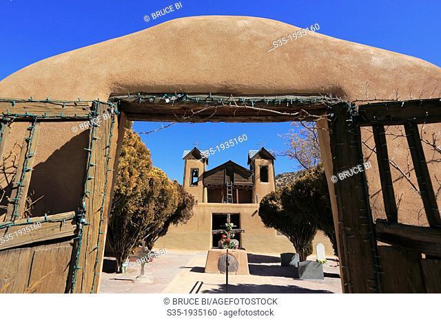 The historical catholic chapel of Santuario de Nuestro Senor de Esquipulas aka El Santuario de Chimayo. Village of Chimayo. New Mexico. USA
