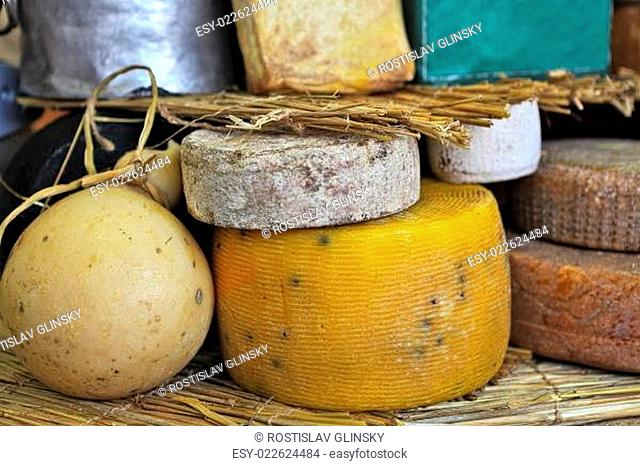 Different types of mature cheese on the stand on International Cheese Festival in Bra, Northern Italy
