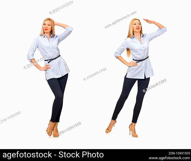 The woman in blue blouse isolated on white